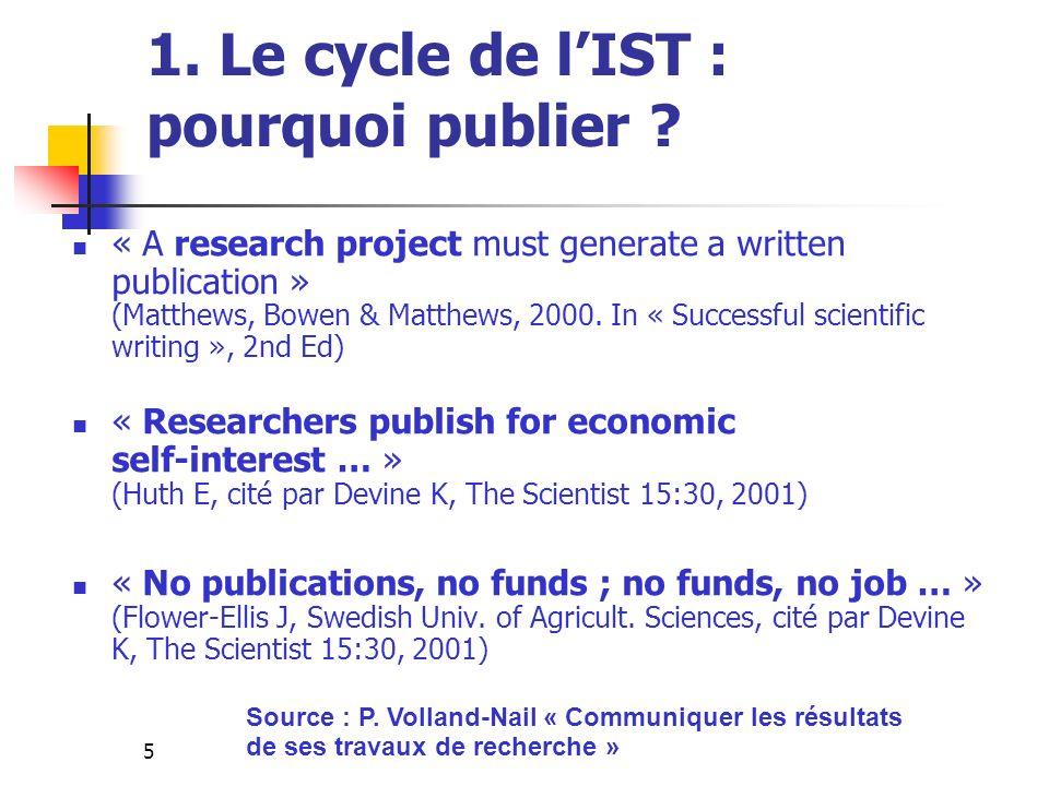 1. Le cycle de l'IST : pourquoi publier