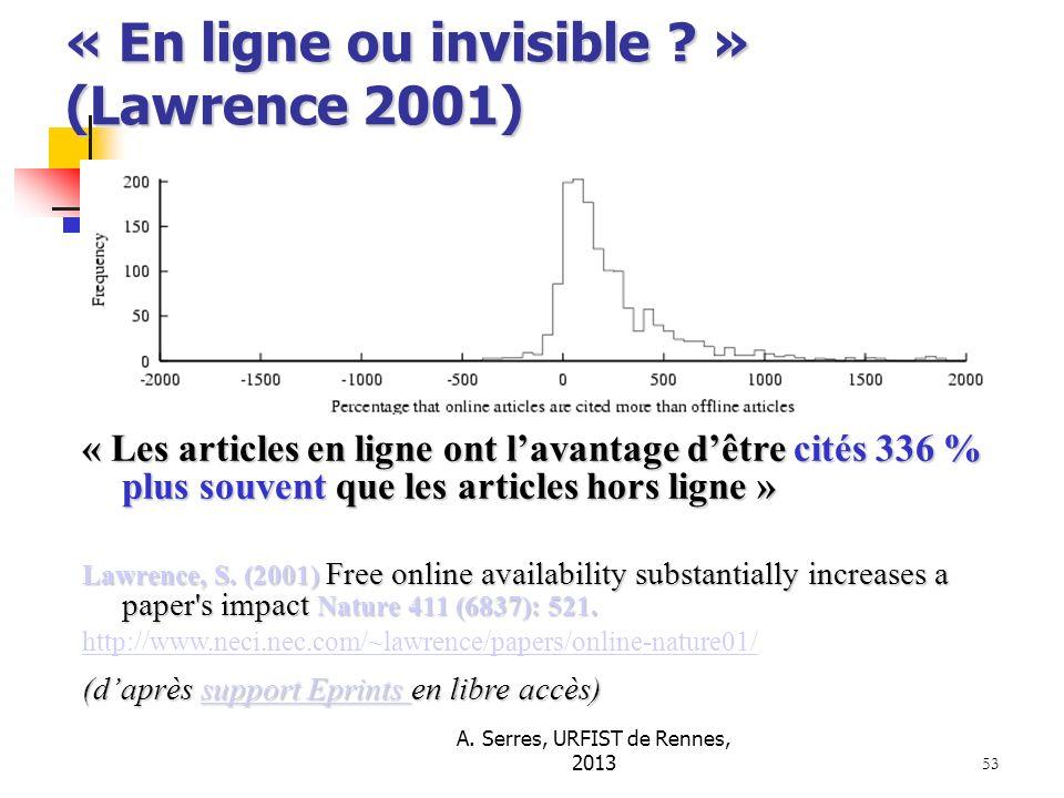 A. Serres, URFIST de Rennes, 2013