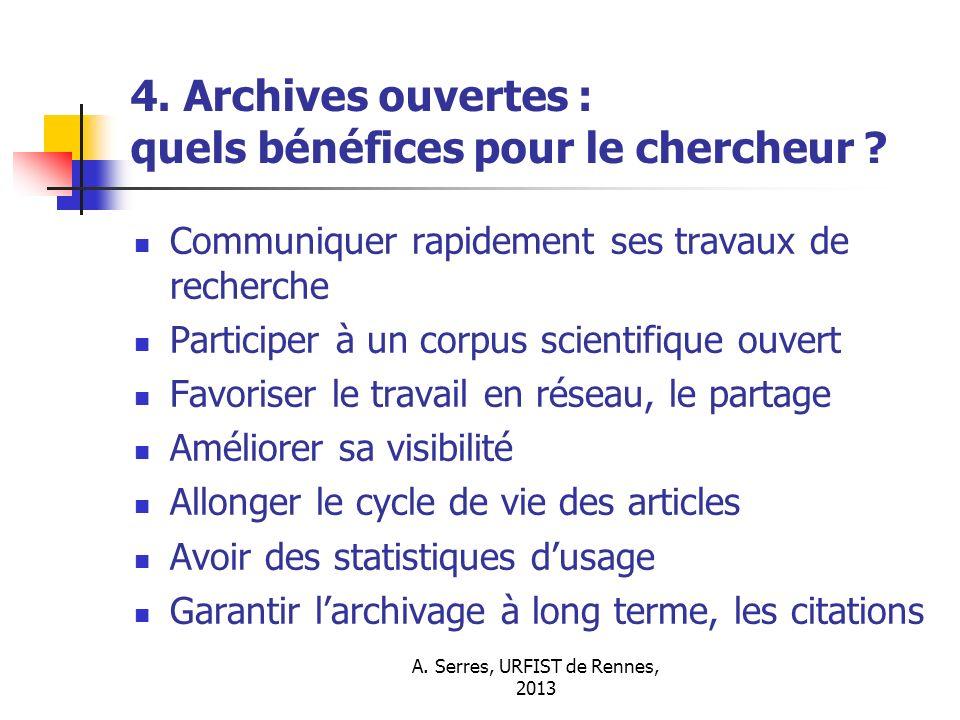4. Archives ouvertes : quels bénéfices pour le chercheur