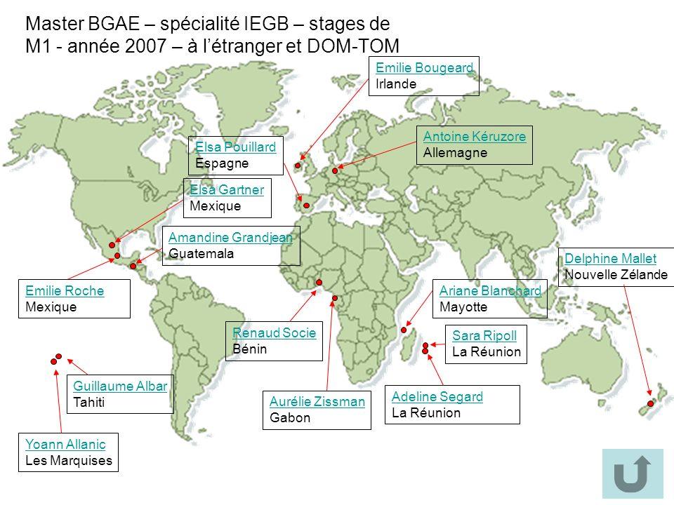 Master BGAE – spécialité IEGB – stages de M1 - année 2007 – à l'étranger et DOM-TOM