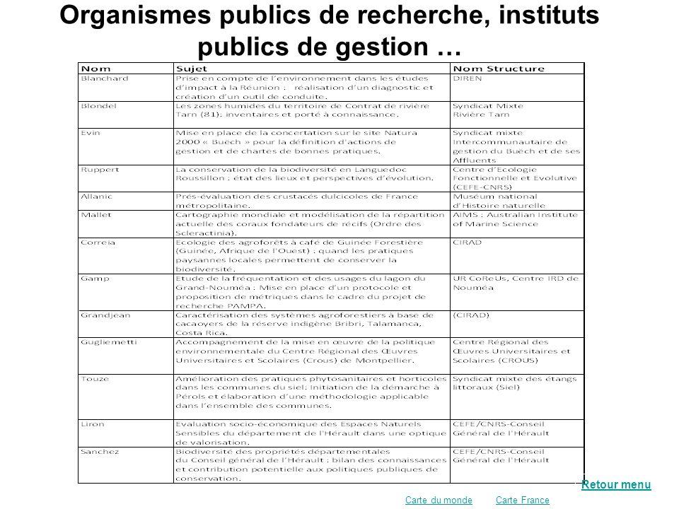 Organismes publics de recherche, instituts publics de gestion …