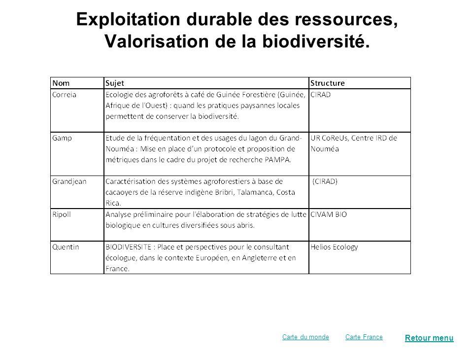 Exploitation durable des ressources, Valorisation de la biodiversité.