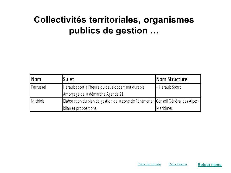 Collectivités territoriales, organismes publics de gestion …