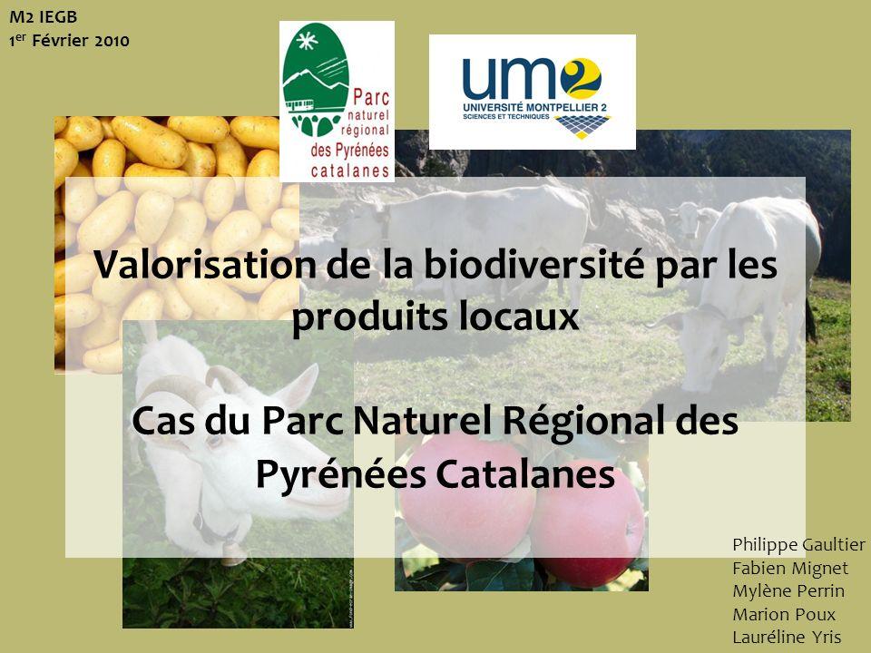 M2 IEGB 1er Février 2010Valorisation de la biodiversité par les produits locaux Cas du Parc Naturel Régional des Pyrénées Catalanes.