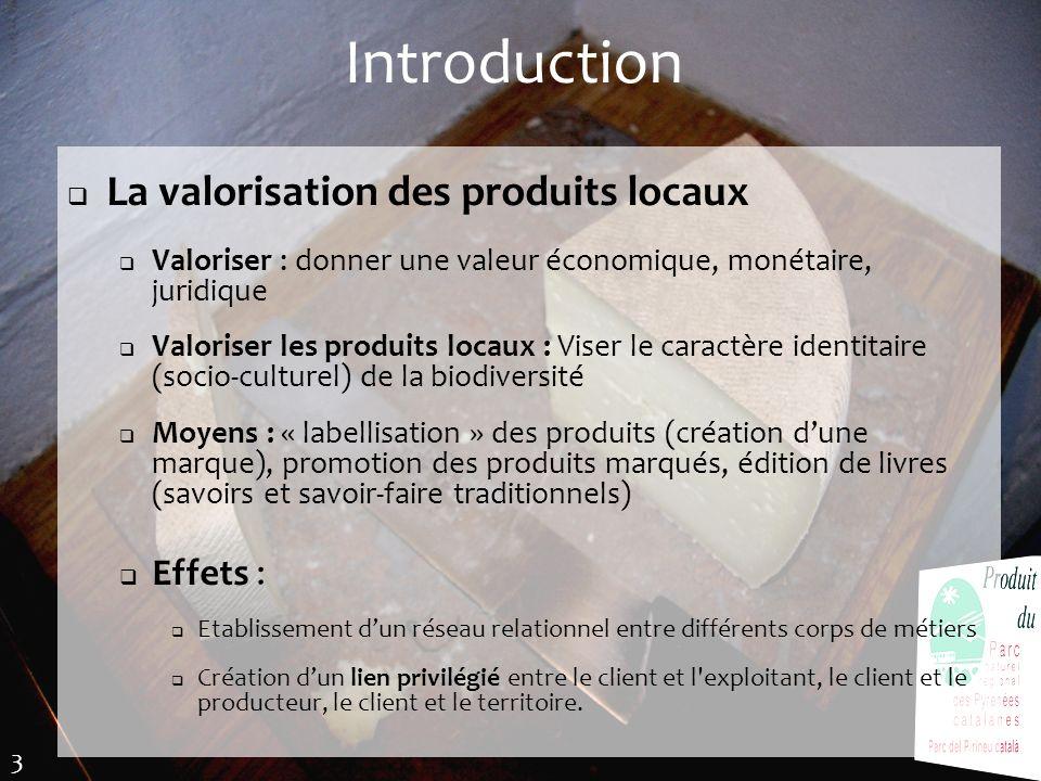 Introduction La valorisation des produits locaux Effets :