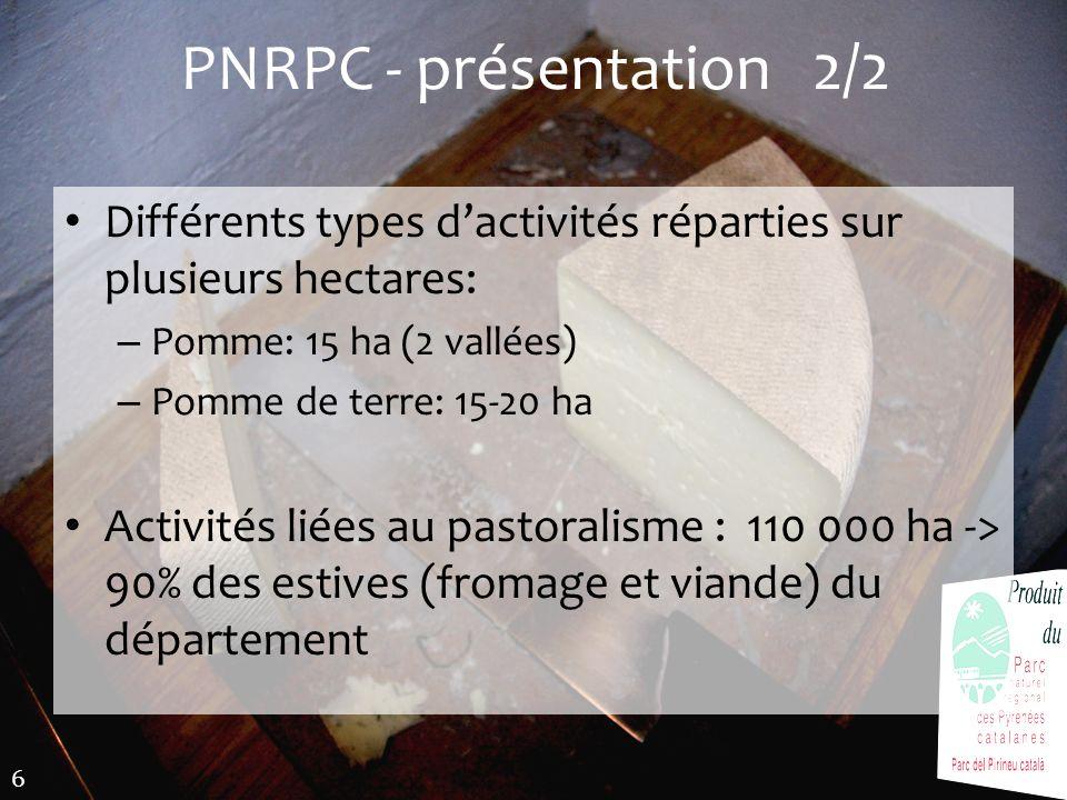 PNRPC - présentation 2/2Différents types d'activités réparties sur plusieurs hectares: Pomme: 15 ha (2 vallées)