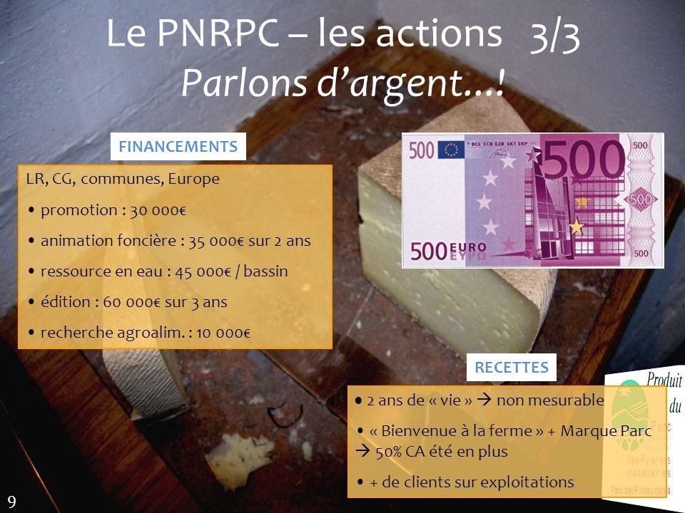Le PNRPC – les actions 3/3 Parlons d'argent...!