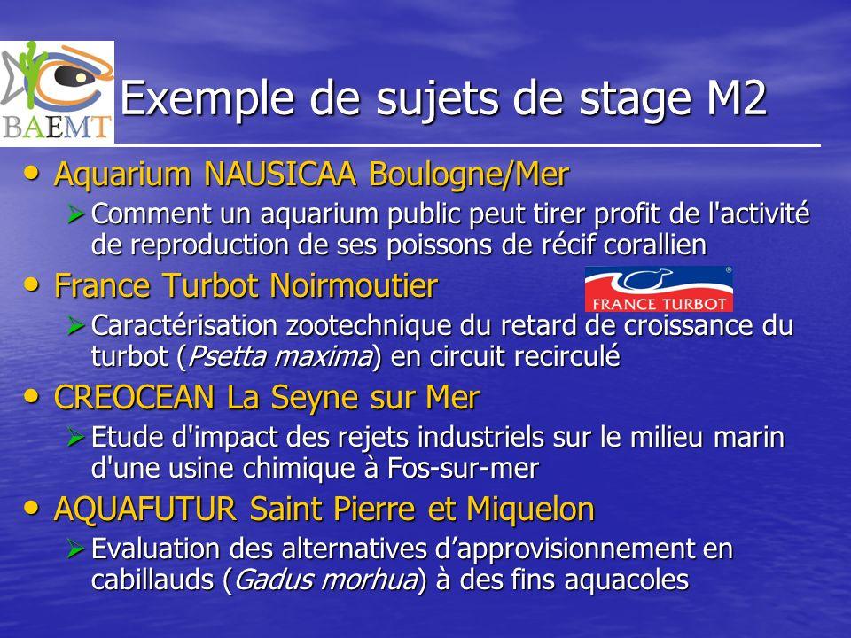 Exemple de sujets de stage M2