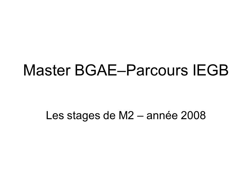 Master BGAE–Parcours IEGB