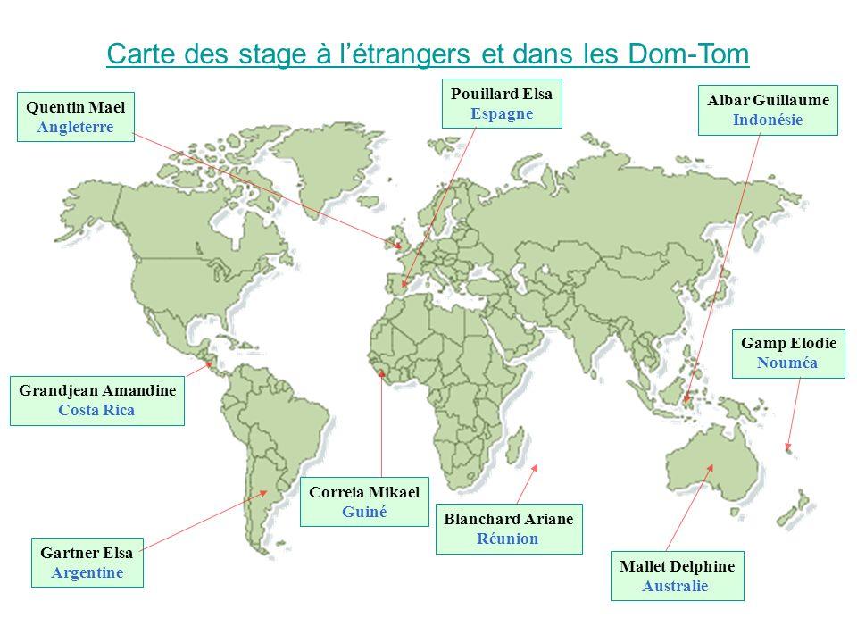 Carte des stage à l'étrangers et dans les Dom-Tom