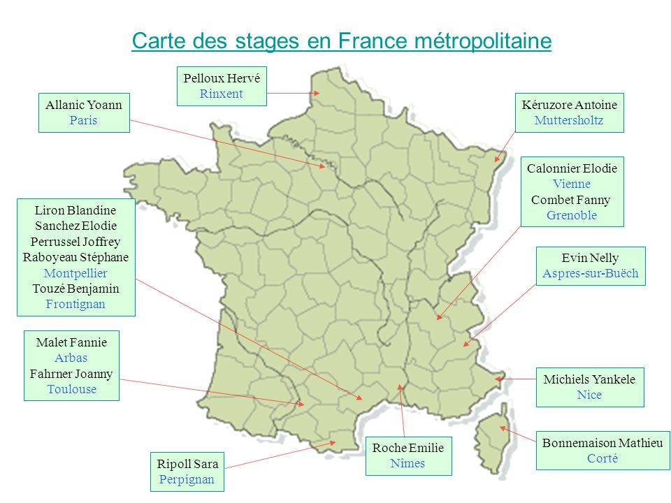 Carte des stages en France métropolitaine