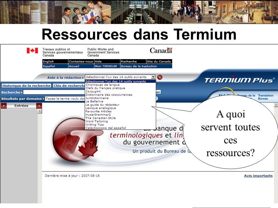 Ressources dans Termium