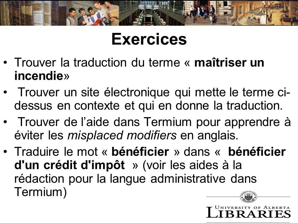Exercices Trouver la traduction du terme « maîtriser un incendie»