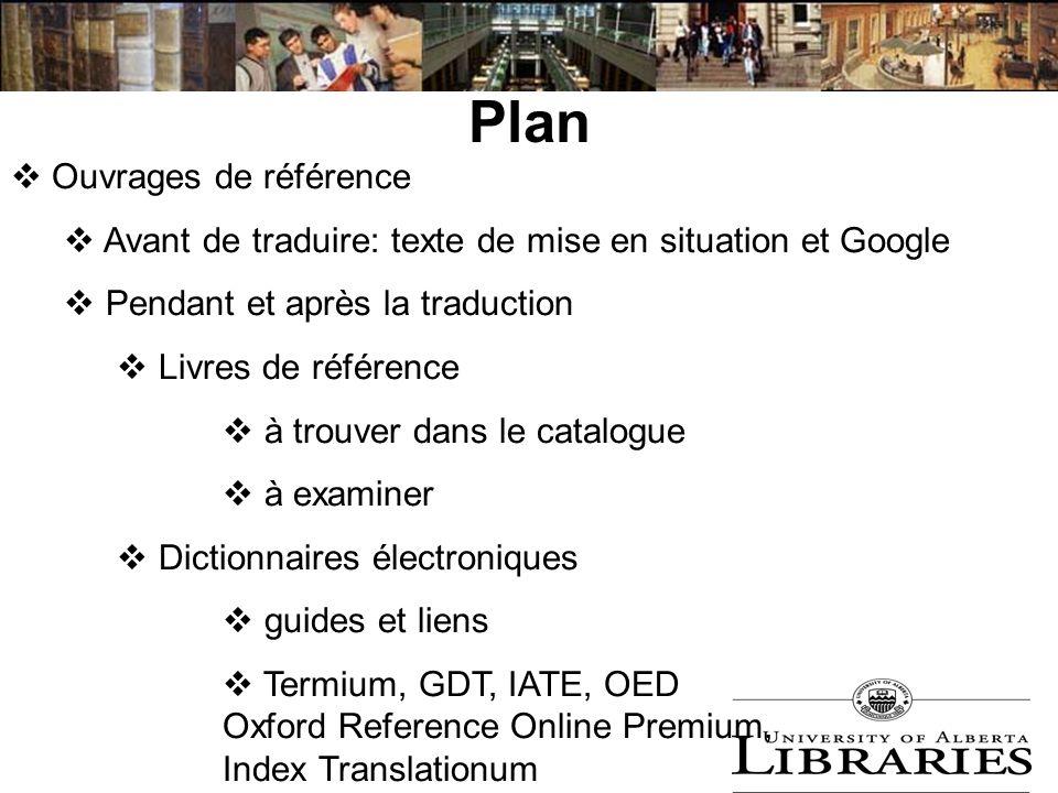 Plan Ouvrages de référence