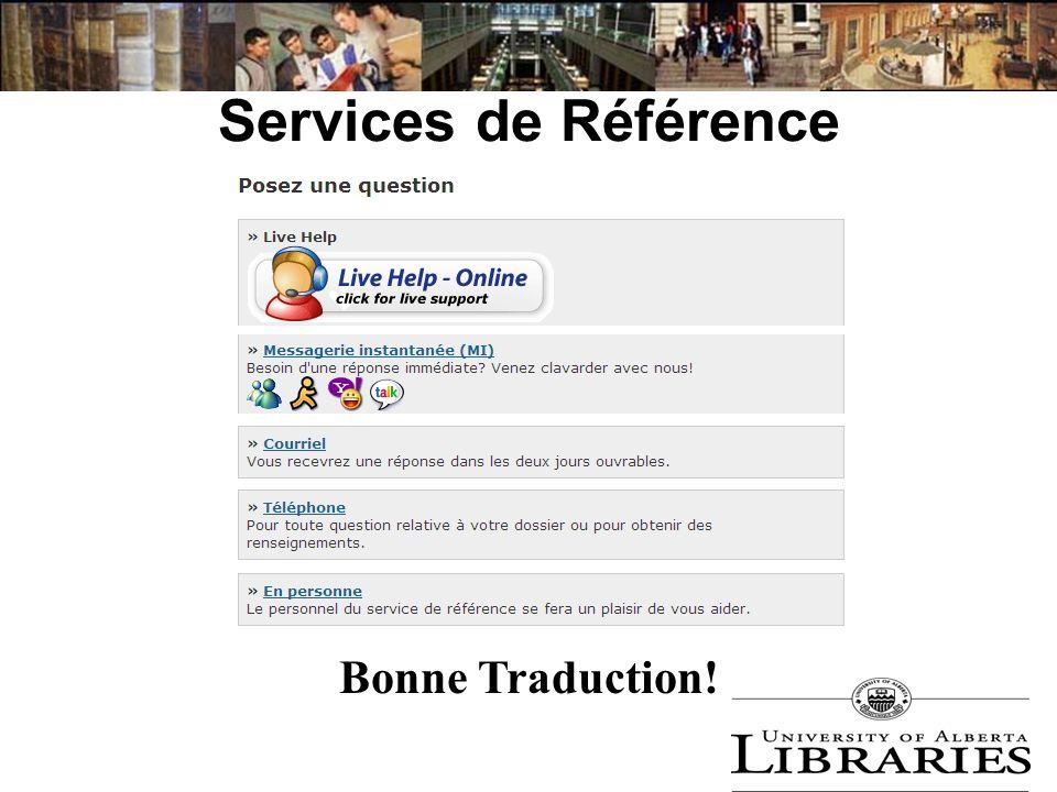 Services de Référence Bonne Traduction!