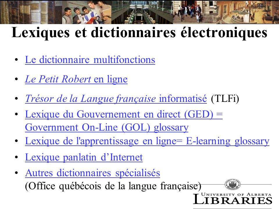 Lexiques et dictionnaires électroniques