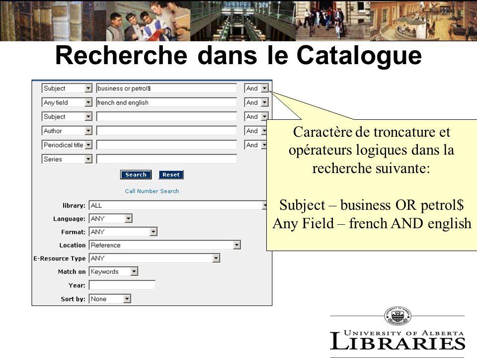 Recherche dans le Catalogue