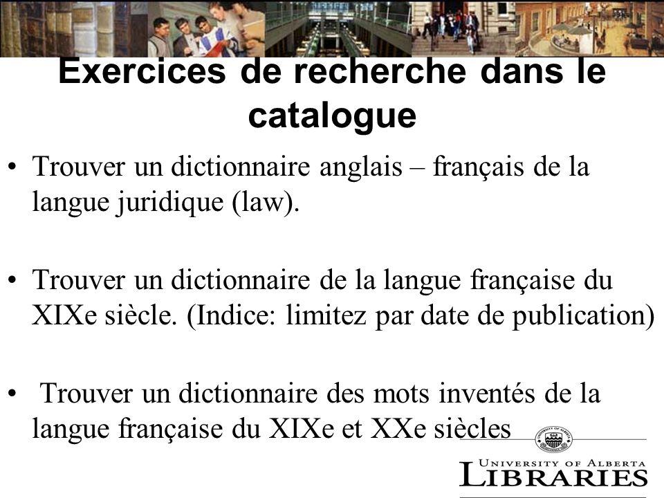 Exercices de recherche dans le catalogue