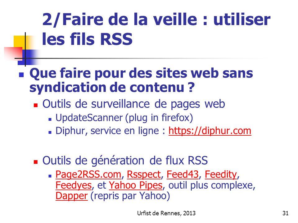 2/Faire de la veille : utiliser les fils RSS