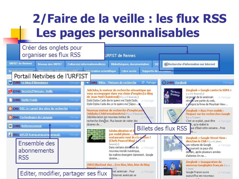 2/Faire de la veille : les flux RSS Les pages personnalisables