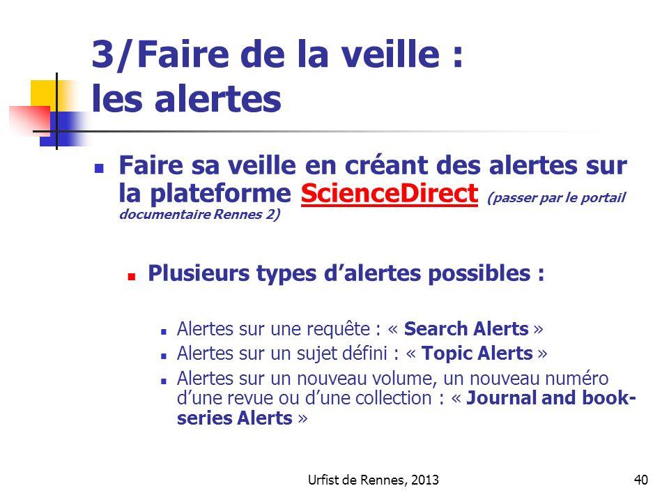 3/Faire de la veille : les alertes