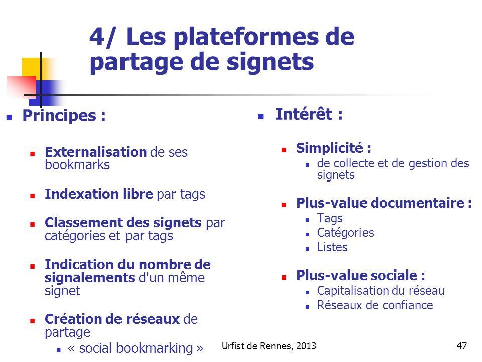 4/ Les plateformes de partage de signets