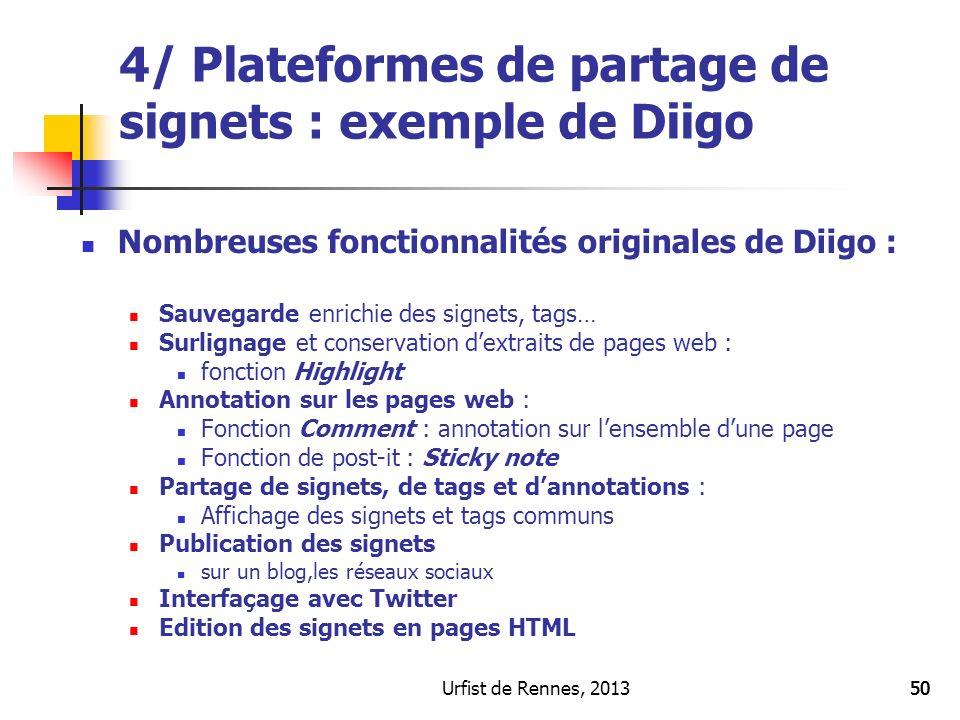 4/ Plateformes de partage de signets : exemple de Diigo