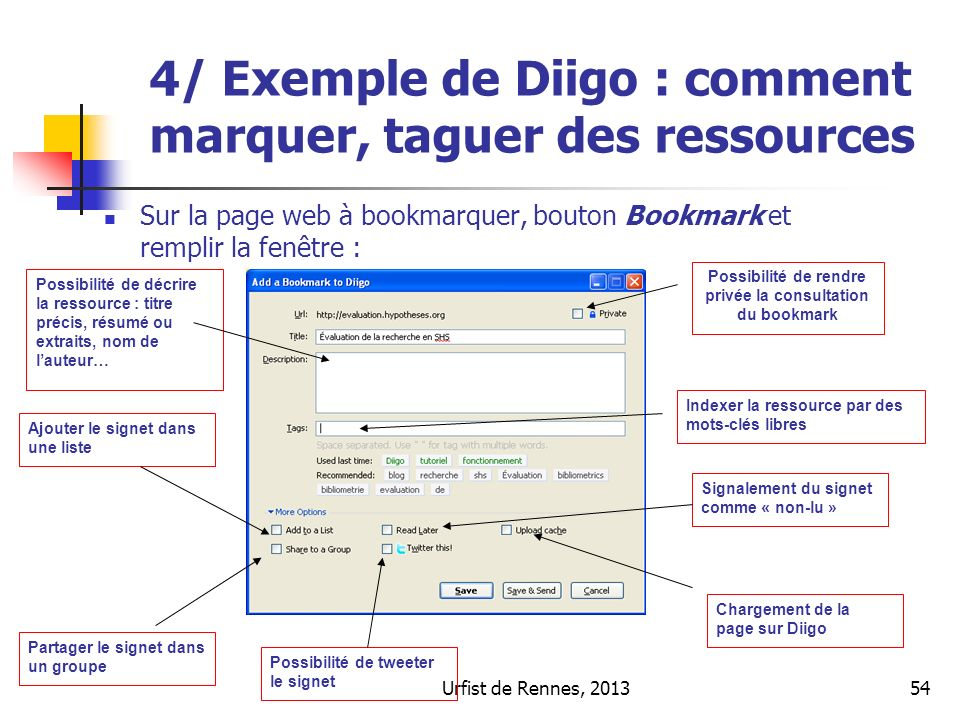 Possibilité de rendre privée la consultation du bookmark