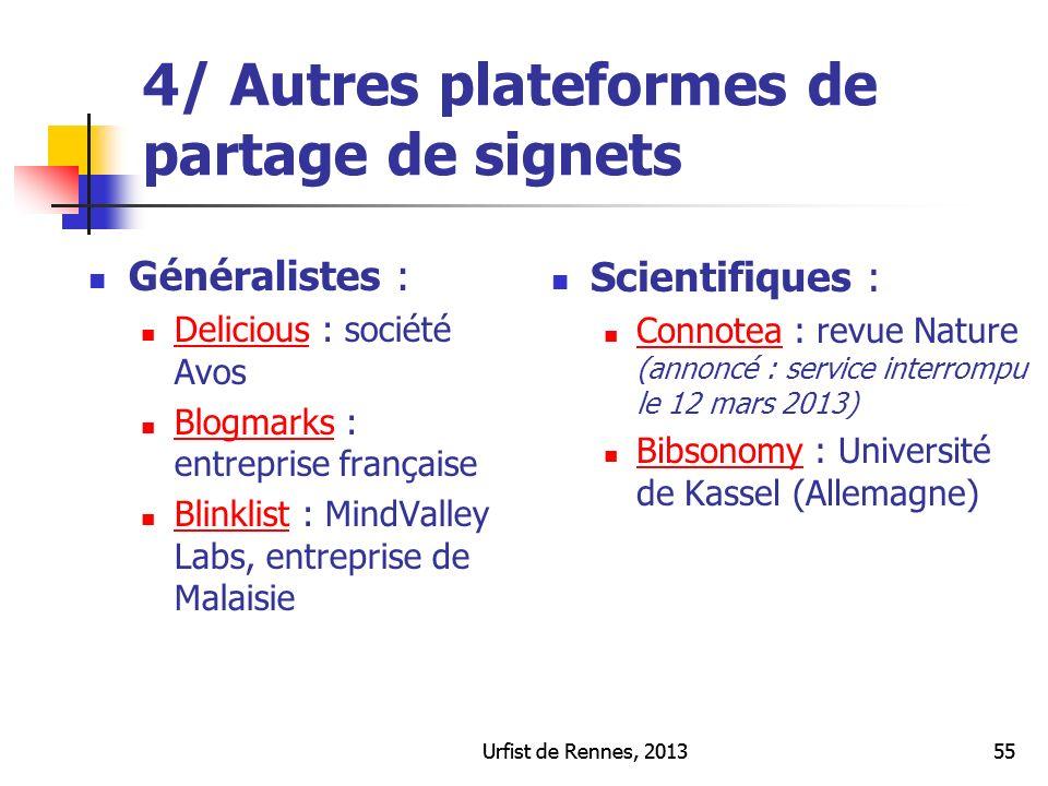 4/ Autres plateformes de partage de signets