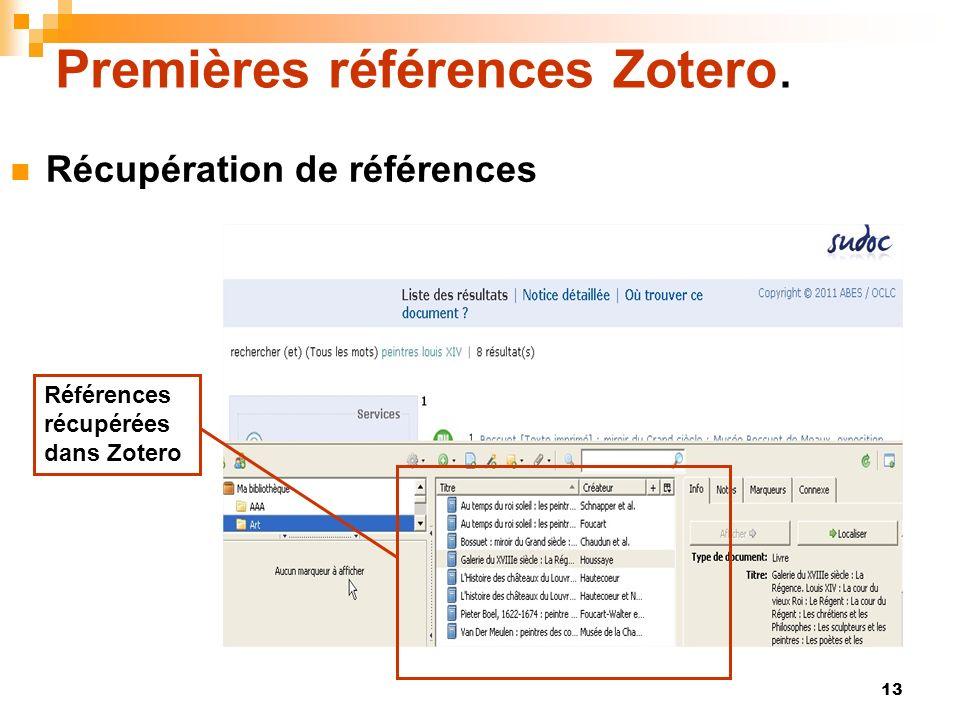 Premières références Zotero.
