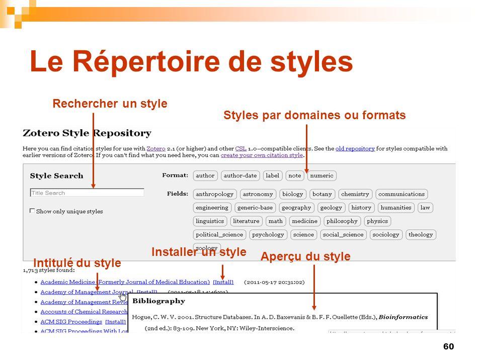 Le Répertoire de styles
