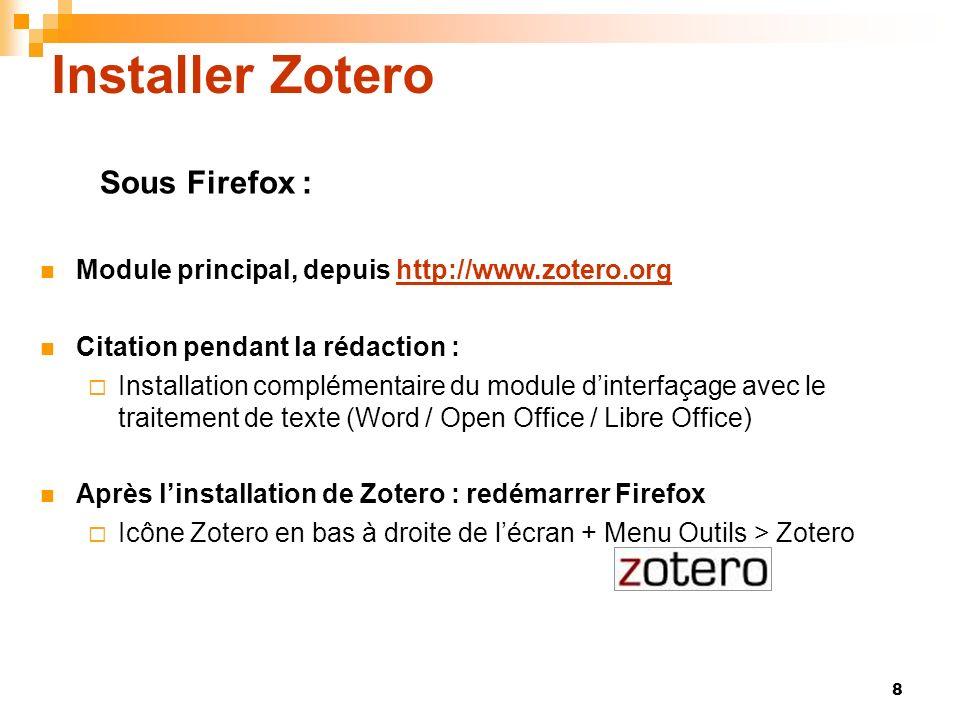 Installer Zotero Sous Firefox :