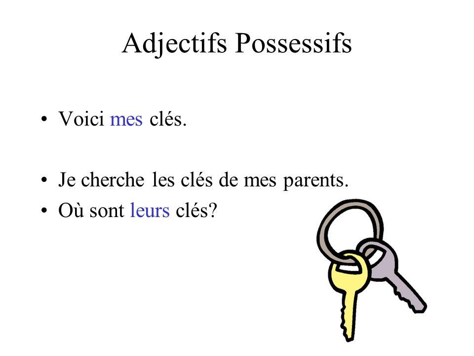 Adjectifs Possessifs Voici mes clés.