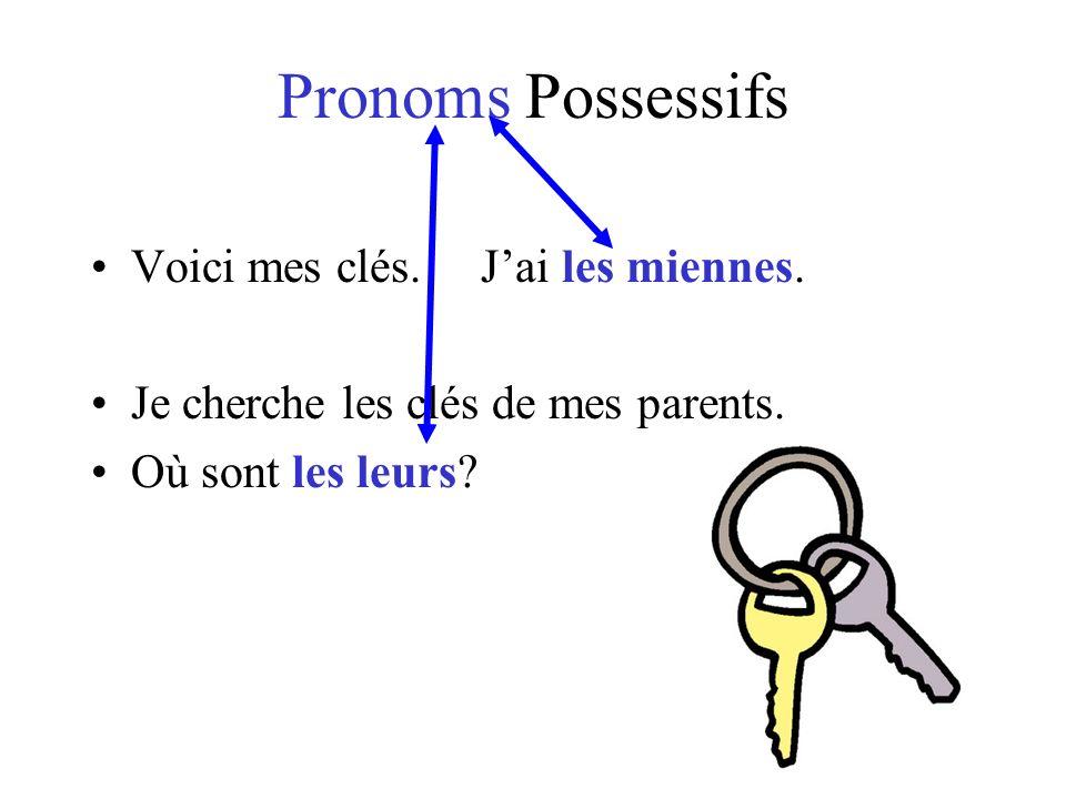 Pronoms Possessifs Voici mes clés. J'ai les miennes.