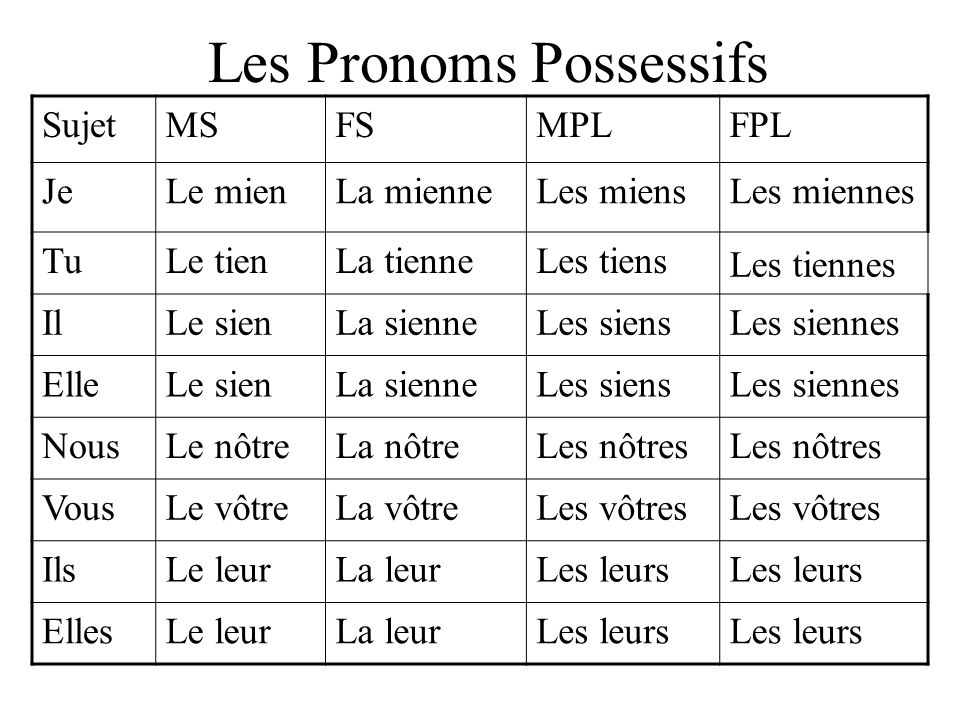 Les Pronoms Possessifs