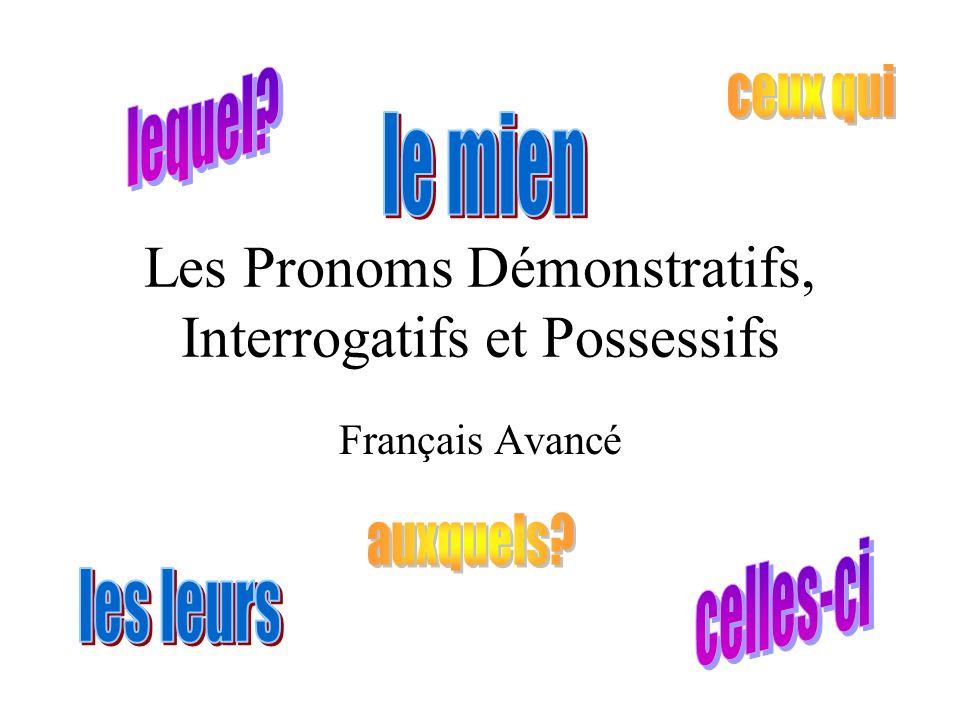 Les Pronoms Démonstratifs, Interrogatifs et Possessifs