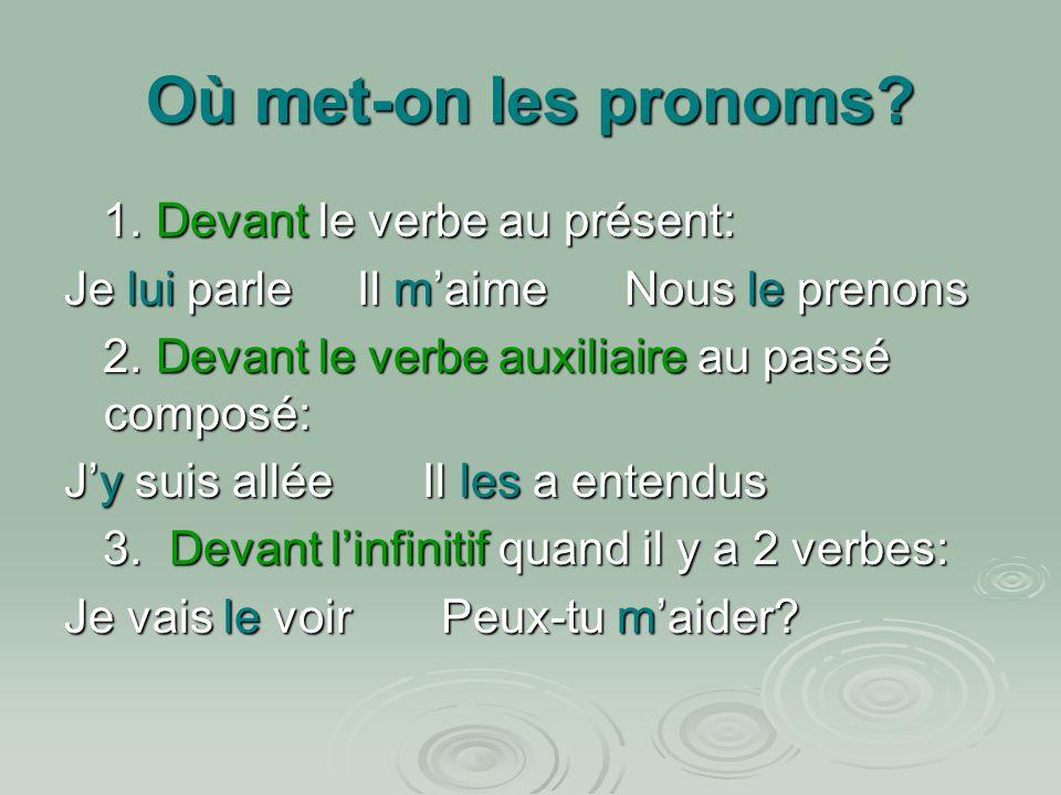 Où met-on les pronoms 1. Devant le verbe au présent: