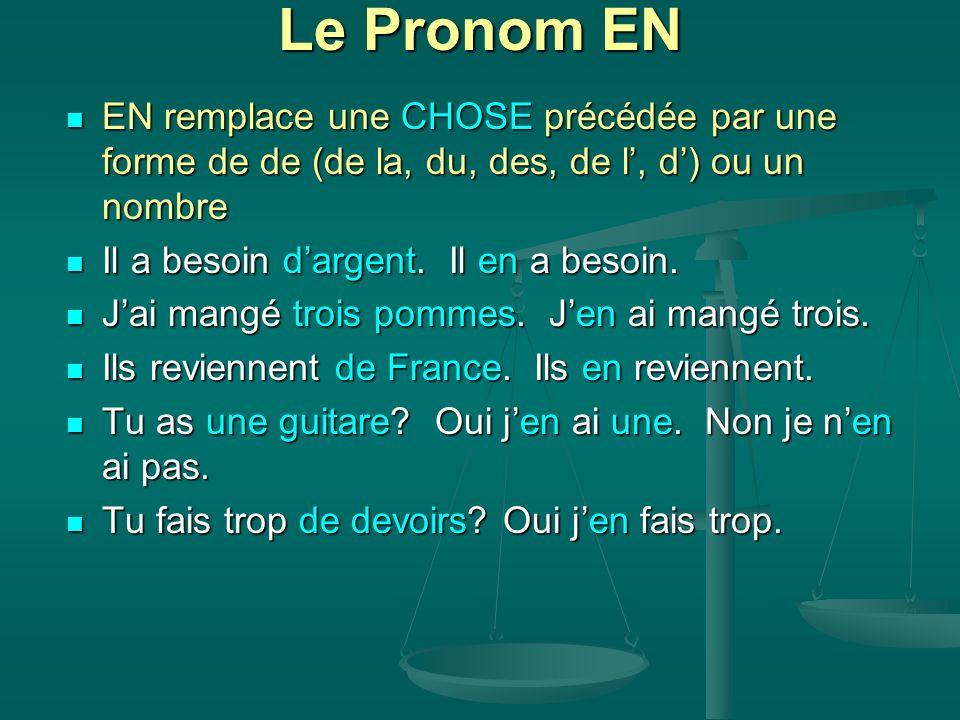 Le Pronom EN EN remplace une CHOSE précédée par une forme de de (de la, du, des, de l', d') ou un nombre.