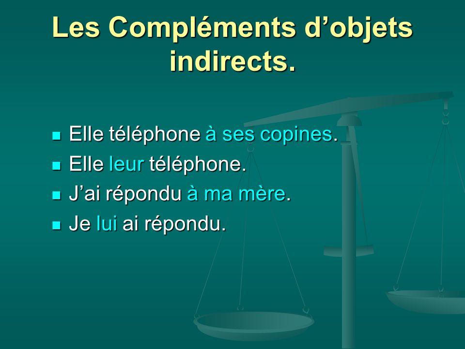 Les Compléments d'objets indirects.
