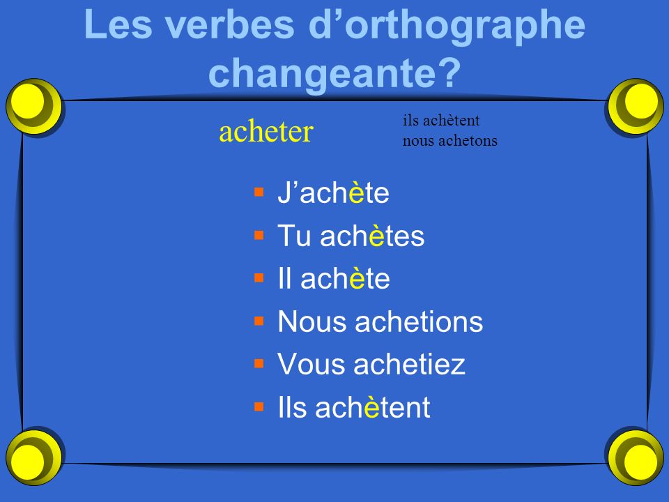 Les verbes d'orthographe changeante
