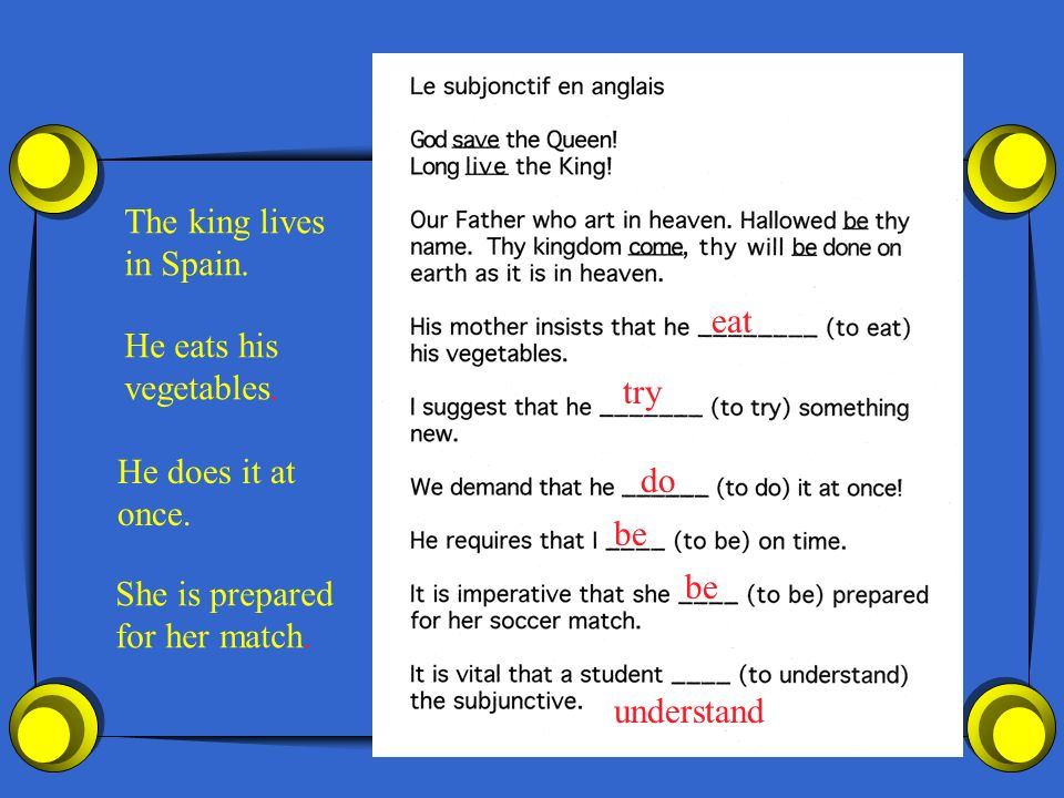 The king livesin Spain. eat. He eats his. vegetables. try. He does it at. once. do. be. be. She is prepared.