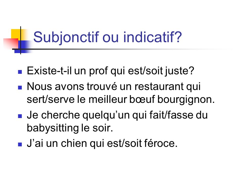 Subjonctif ou indicatif