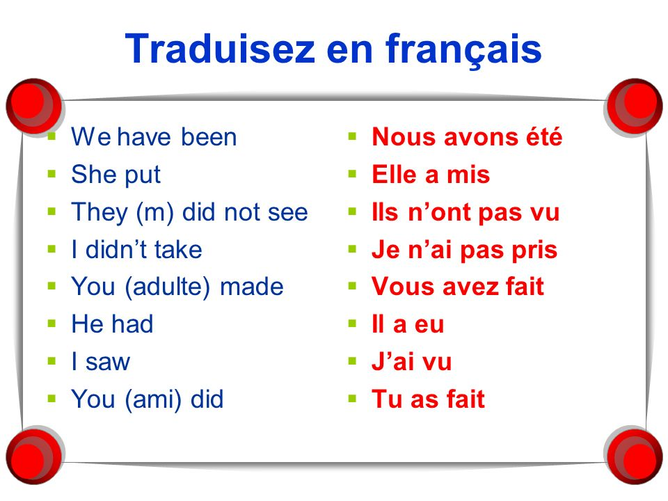 Traduisez en français We have been She put They (m) did not see