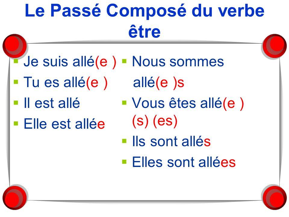 Le Passé Composé du verbe être