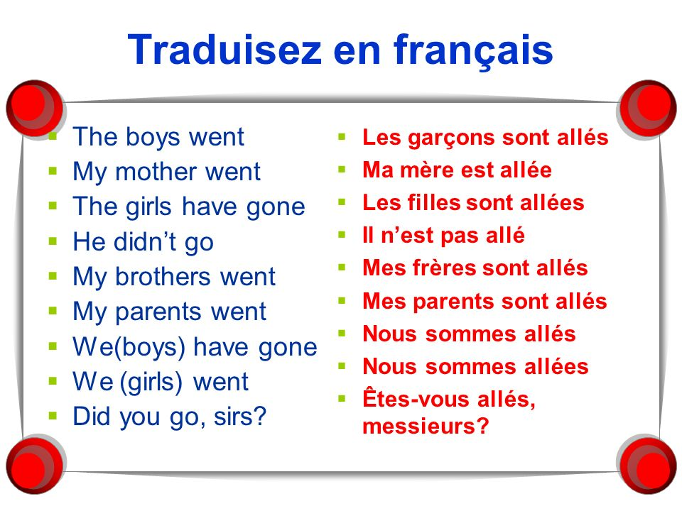 Traduisez en français The boys went My mother went The girls have gone