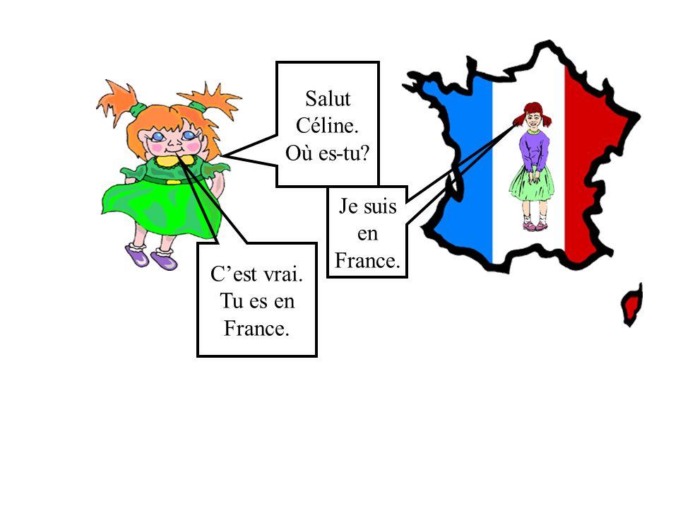 Salut Céline. Où es-tu Je suis en France. C'est vrai. Tu es en France.
