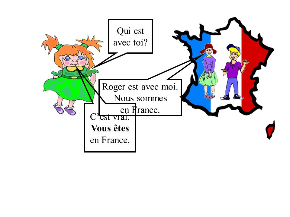Qui est avec toi Roger est avec moi. Nous sommes en France. C'est vrai. Vous êtes en France.