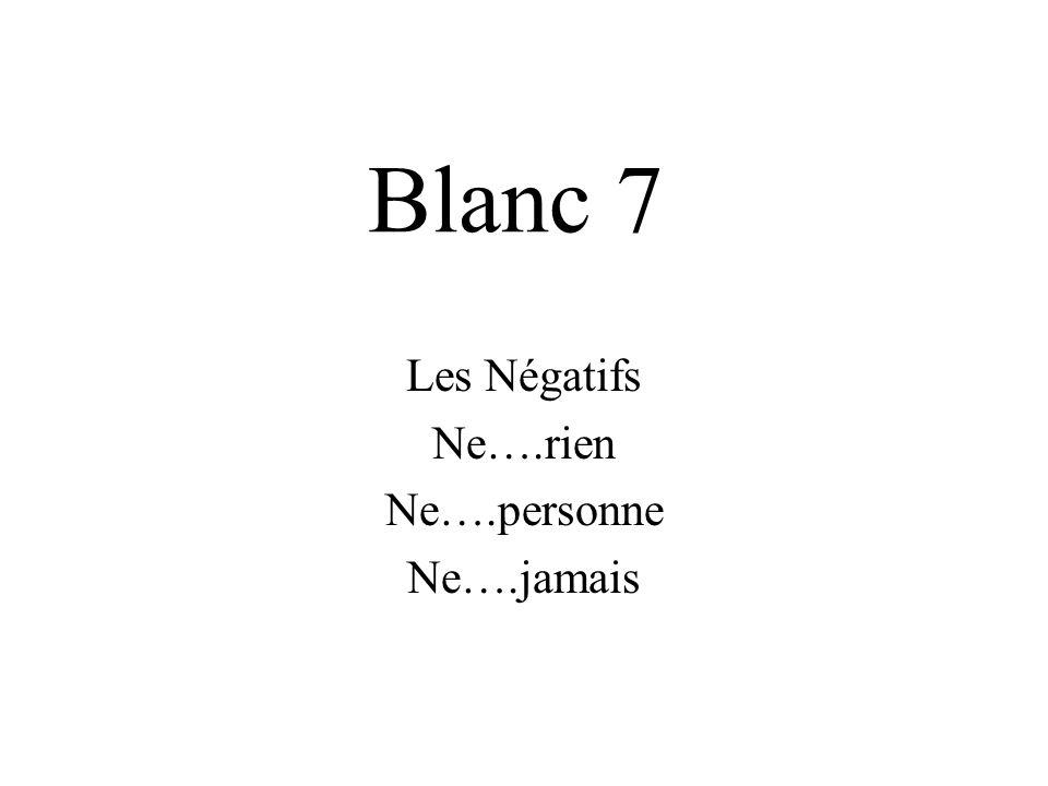 Les Négatifs Ne….rien Ne….personne Ne….jamais