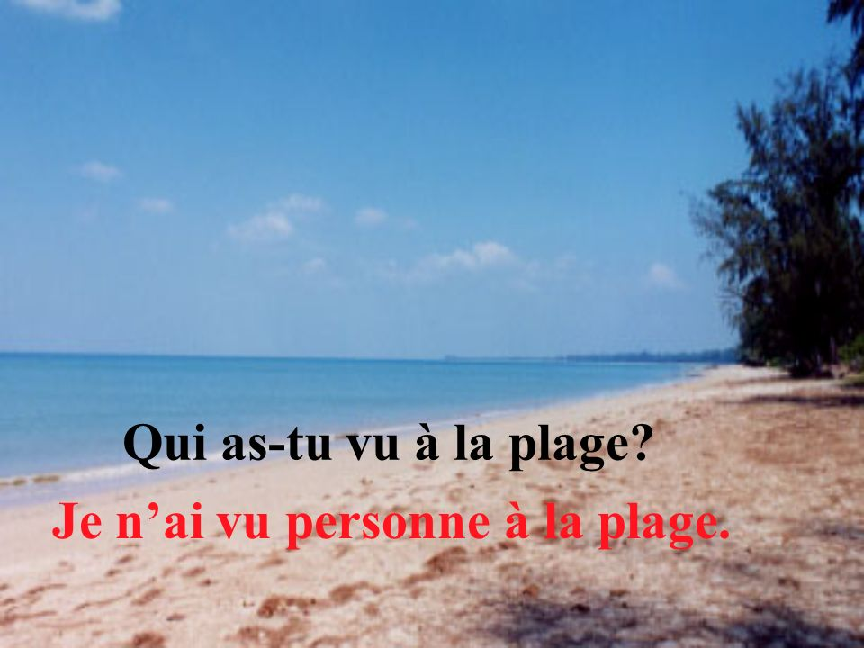 Qui as-tu vu à la plage Je n'ai vu personne à la plage.
