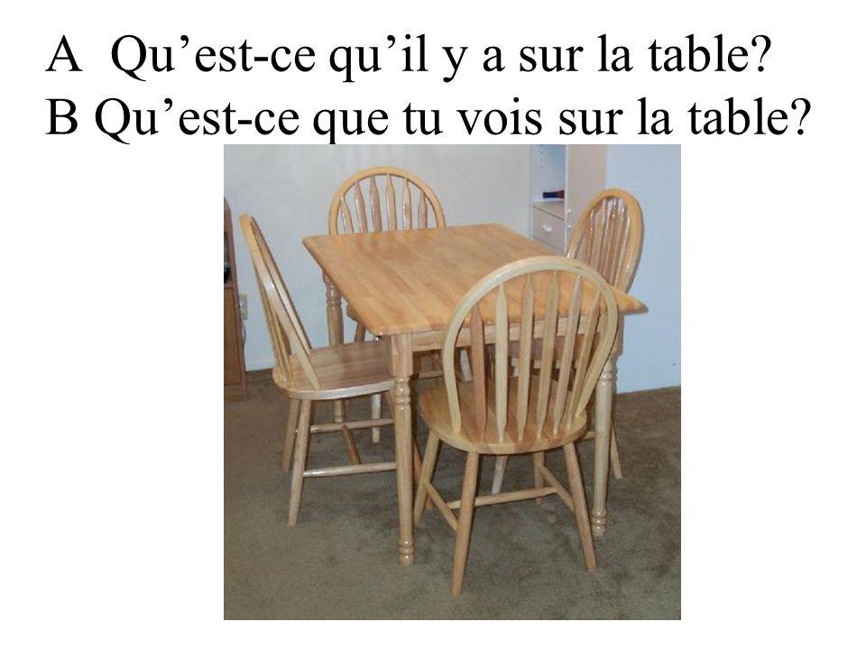 A Qu'est-ce qu'il y a sur la table